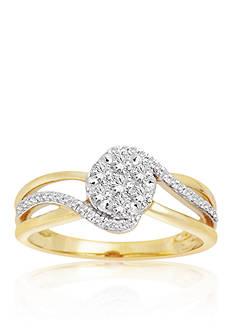 Belk & Co. Diamond Cluster Swirl Ring in 10K Yellow Gold