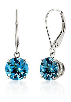 Belk & Co. Round Blue Topaz Dangle Earrings in 10K White Gold