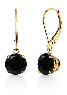 Belk & Co. Round Black Onyx Dangle Earrings in 10K Yellow Gold