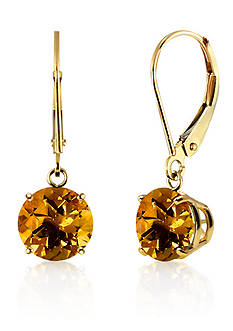 Belk & Co. Round Citrine Dangle Earrings in 10K Yellow Gold