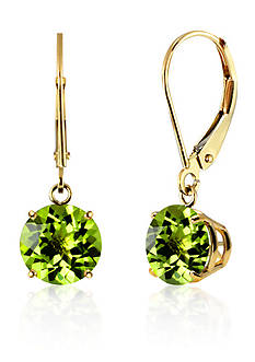 Belk & Co. Round Peridot Dangle Earrings in 10K Yellow Gold