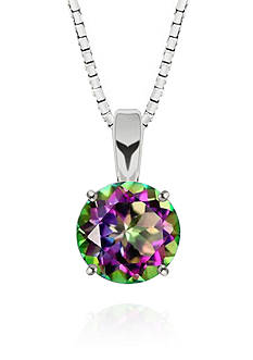 Belk & Co. Mystic Topaz Solitaire Pendant Necklace in Sterling Silver