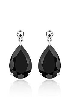 Belk & Co. Pear Shaped Onyx Drop Earrings in Sterling Silver