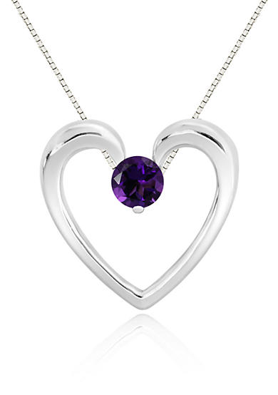 Belk & Co. Amethyst Heart Pendant Necklace in Sterling Silver