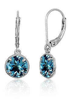 Belk & Co. Round Blue Topaz Drop Earrings in Sterling Silver