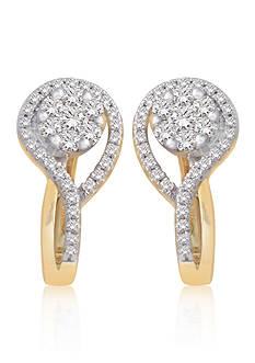 Belk & Co. Diamond Cluster Earrings in 10k Yellow Gold