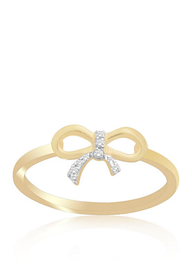 Belk & Co. Diamond Bow Ring in 10k Yellow Gold