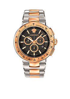 Versace Men's Mystique Black Sterling Silver and Rose Gold-Plated Watch