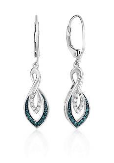 Belk & Co. Blue and White Diamond Twist Earrings in Sterling Silver