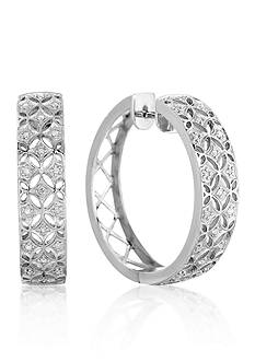 Belk & Co. Diamond Vintage Hoop Earrings in Sterling Silver