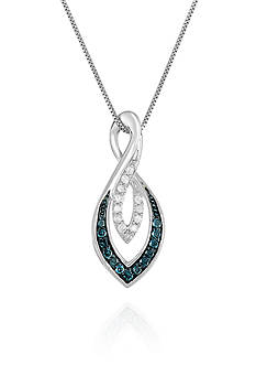 Belk & Co. Blue and White Diamond Twist Pendant in Sterling Silver