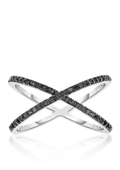 Belk & Co. Black Diamond Crossover Ring in Sterling Silver