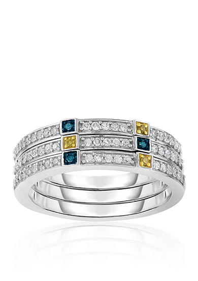 Belk & Co. White Blue and Yellow Diamond Stack Rings in Sterling Silver