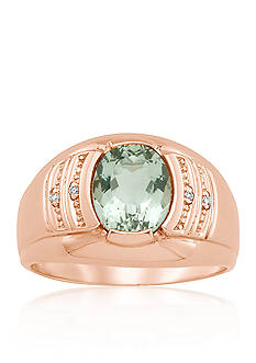 Alberto™ Men's 14k Rose Gold Green Amethyst and Diamond Accent Ring