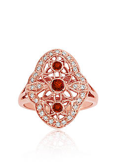Belk & Co. Red Diamond and White Diamond Ring in 14k Rose Gold