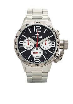 TW Steel Men's Silver Chronograph Black Dial Watch