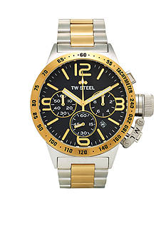TW Steel Men's Two-Tone Chronograph Black Watch