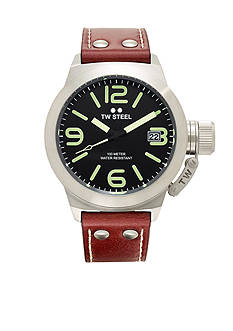 TW Steel Men's Brown Strap Black Dial Watch