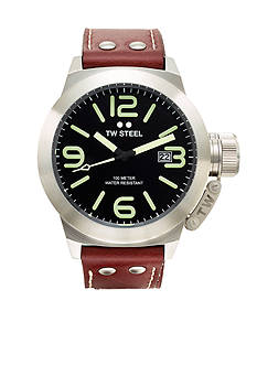 TW Steel Men's Big Case Brown Strap Watch