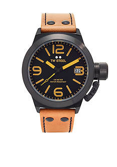 TW Steel Men's Tan Strap Black Dial Watch