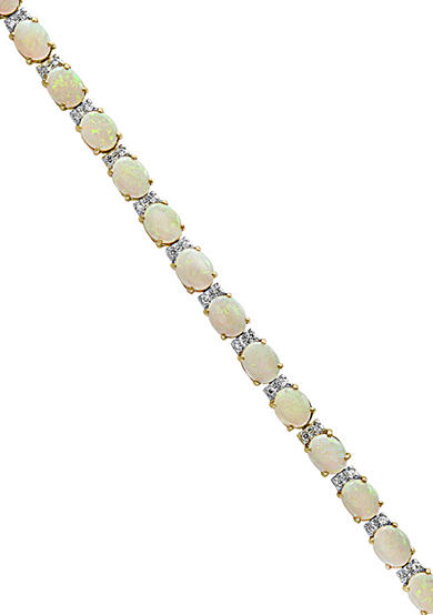 Effy® Opal and Diamond Tennis Bracelet in 14K Yellow Gold