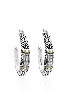 Effy® 0.25 Diamond Hoops Earrings in Sterling Silver and 18k Yellow Gold