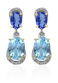 Effy Aquamarine, Tanzanite, and Diamond Earrings in 14k White Gold