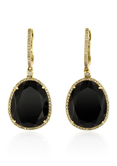 Effy® Onyx and Diamond Drop Earrings in 14k Yellow Gold