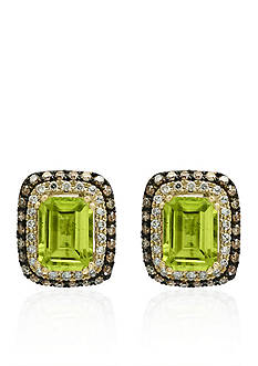 Effy Peridot, Brown & White Diamond Earrings in 14K Yellow Gold