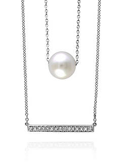 Effy® Freshwater Pearl & Diamond Double Strand Necklace in Sterling Silver