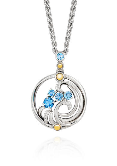 Effy® Topaz and Diamond Pendant in Sterling Silver and 18K Yellow Gold