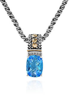 Effy Topaz and Diamond Pendant Necklace in Sterling Silver and 18K Yellow Gold