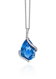 Effy Blue Topaz & Diamond Pendant in 14K White Gold