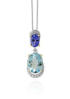 Effy® Aquamarine, Tanzanite, and Diamond Necklace in 14k White Gold