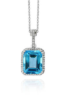Effy® Blue Topaz and Diamond Necklace in 14k White Gold