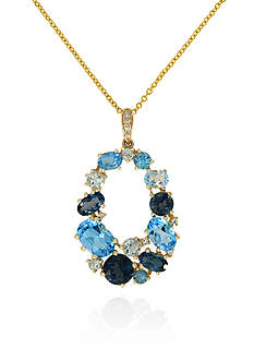 Effy Blue Topaz and Diamond Pendant Necklace in 14k Yellow Gold