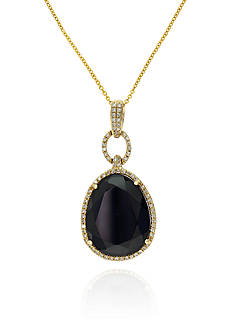Effy Onyx and Diamond Pendant in 14K Yellow Gold