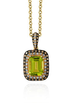 Effy Peridot & Diamond Halo Pendant in 14K Yellow Gold
