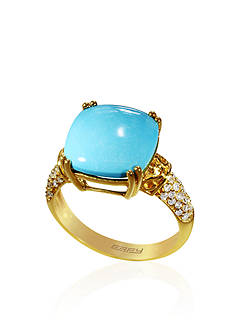 Effy Cushion Turquoise with Diamonds Ring in 14k Yellow Gold
