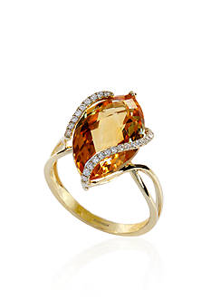 Effy Citrine and Diamond Ring in 14k Yellow Gold