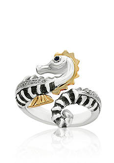Effy Diamond Sea Horse Ring in Sterling Silver and 18k Yellow Gold