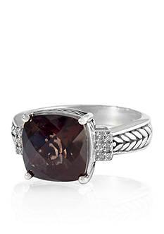 Effy Smoky Quartz & Diamond Ring in Sterling Silver