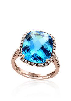 Effy Blue Topaz and Diamond Ring in 14k Rose Gold