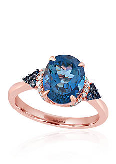 Effy London Blue Topaz and Diamond Ring in 14k Rose Gold