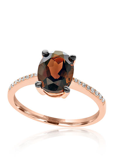 Effy® Oval Smokey Quartz and Diamond in 14K Rose Gold