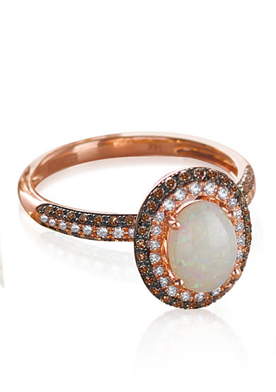 Effy® Opal, Diamond, and Espresso Diamond Ring in 14K Rose Gold