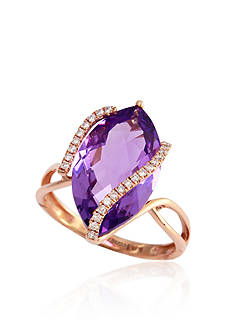 Effy Marquise Amethyst and Diamond Ring in 14k Rose Gold