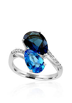 Effy Blue Topaz and Diamond Bypass Ring in 14k White Gold
