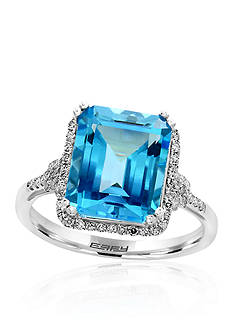 Effy Emerald Cut Blue Topaz and Diamond Halo Ring in 14k White Gold