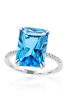 Effy Blue Topaz with Diamond Shank Ring in 14k White Gold